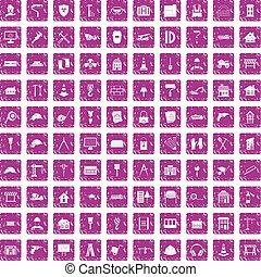 100 construction icons set grunge pink