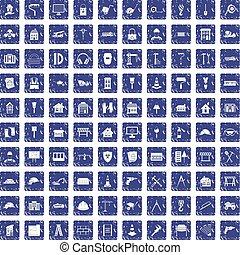 100 construction icons set grunge sapphire