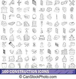 100 construction icons set, outline style