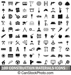 100 construction materials icons set, simple style