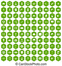 100 construction site icons hexagon green