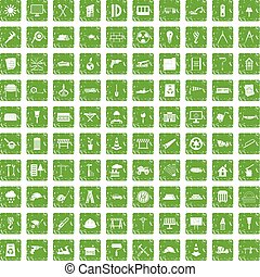 100 construction site icons set grunge green