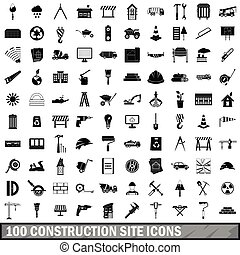 100 construction site icons set, simple style