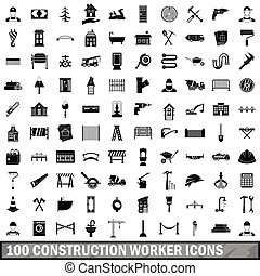 100 construction worker icons set, simple style