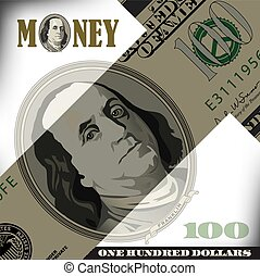 100, conta, dólar, elementos