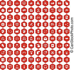 100 contact us icons hexagon red