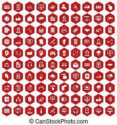 100, contattarci, icone, esagono, rosso