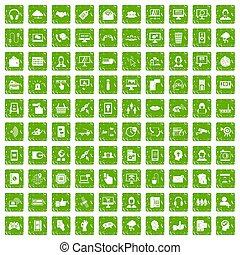 100, contattarci, icone, set, grunge, verde