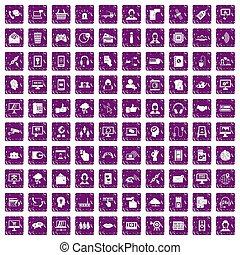 100, contattarci, icone, set, grunge, viola