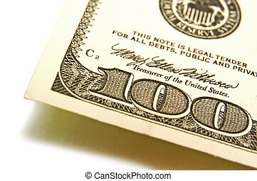 100, conto, dollaro