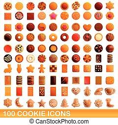 100 cookie icons set, cartoon style