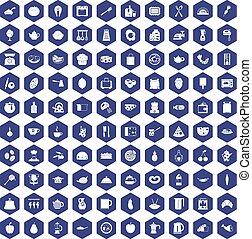100 cooking icons hexagon purple