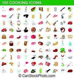 100 cooking icons set, cartoon style