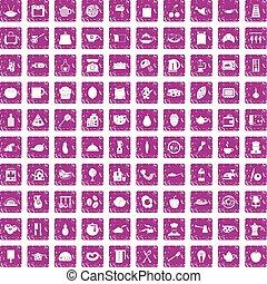 100 cooking icons set grunge pink