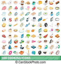 100 cooking icons set, isometric 3d style