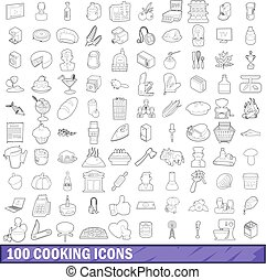 100 cooking icons set, outline style