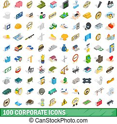 100 corporate icons set, isometric 3d style