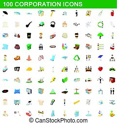 100 corporation icons set, cartoon style