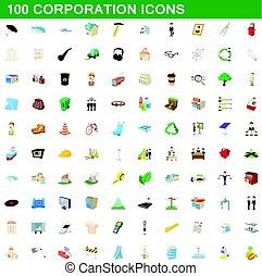 100 corporation icons set, cartoon style