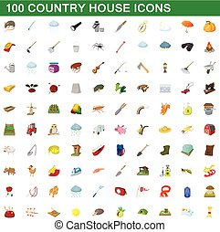 100 country house icons set, cartoon style