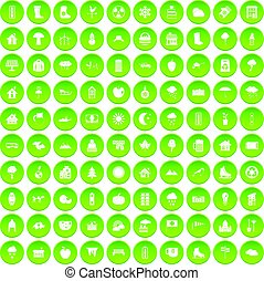 100 country house icons set green circle