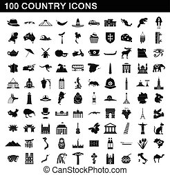 100 country icons set, simple style