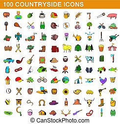 100 countryside icons set, cartoon style