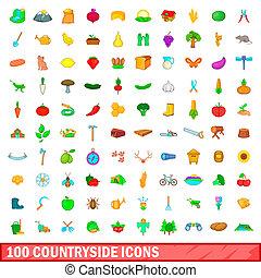 100 countryside icons set, cartoon style