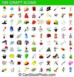 100 craft icons set, cartoon style
