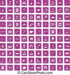 100 craft icons set grunge pink