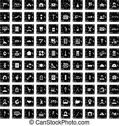 100 craft icons set, grunge style