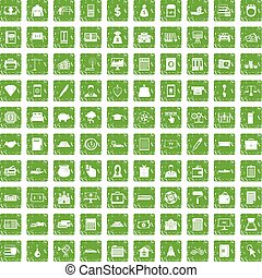 100 credit icons set grunge green