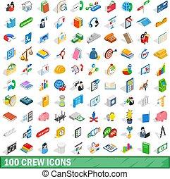 100 crew icons set, isometric 3d style