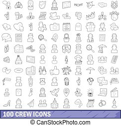 100 crew icons set, outline style