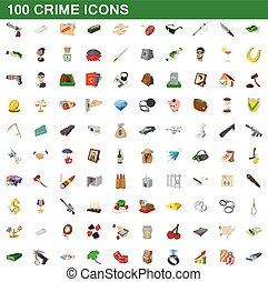 100 crime icons set, cartoon style