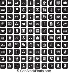 100 criminal offence icons set black