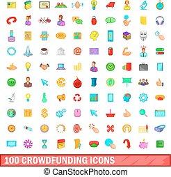 100 crowdfunding icons set, cartoon style