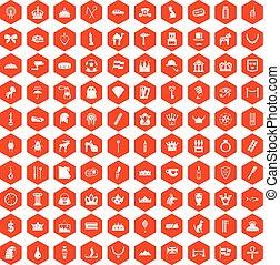 100 crown icons hexagon orange