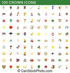 100 crown icons set, cartoon style