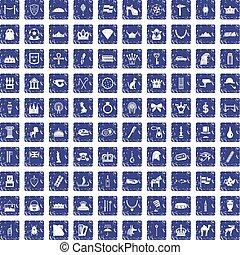100 crown icons set grunge sapphire