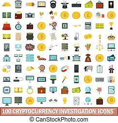 100 cryptocurrency investigation icons set