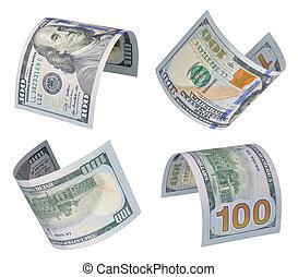 100, cuentas, dólares
