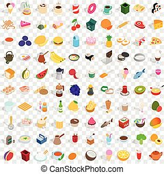 100 culinary icons set, isometric 3d style