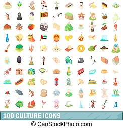 100 culture icons set, cartoon style