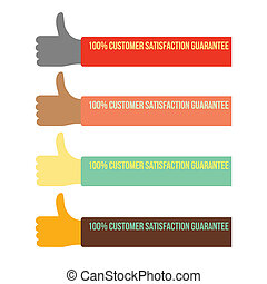 100% customer satisfaction guarantee with thumb up, vector format