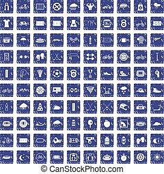 100 cycling icons set grunge sapphire