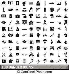 100 danger icons set, simple style