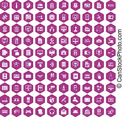 100 database icons hexagon violet