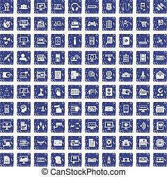 100 database icons set grunge sapphire