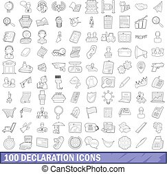 100 declaration icons set, outline style
